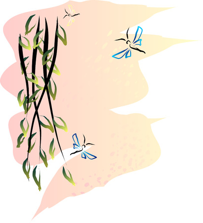 weeping willow and butterflies on summer evening   Vector