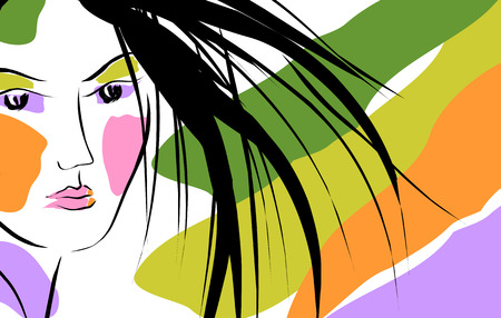 rainbow fashion girl   Vector