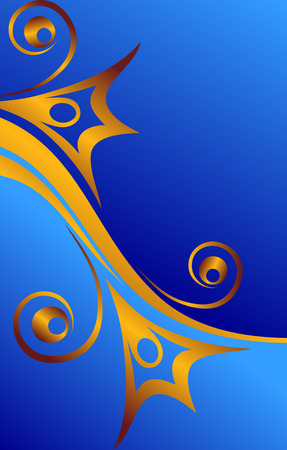 gold flowers on blue backdrop   Vector