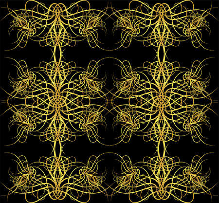 gold pattern with flourishes   Vector
