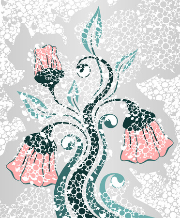 sooty: pink flowers on gray   Illustration