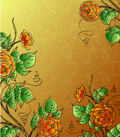 red roses on gold