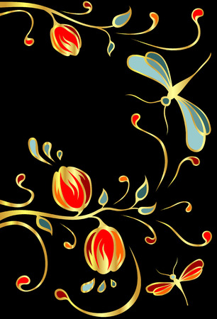 glitter color flowers and butterflies    Vector
