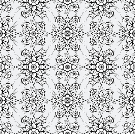 symmetry: seamless floral pattern   Illustration