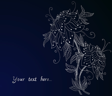 silver orchid on dark blue   Illustration