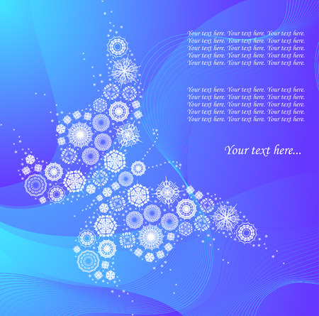 background with snowflakes`s butterfly Vector