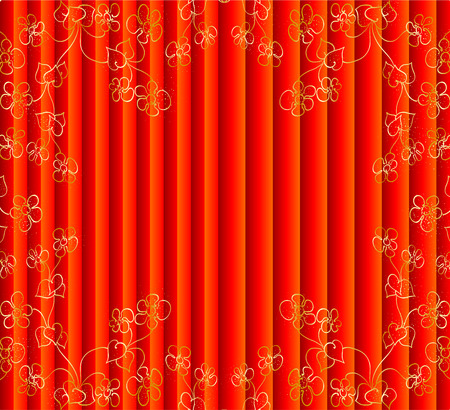 portiere: red curtain with gold flowers   Illustration