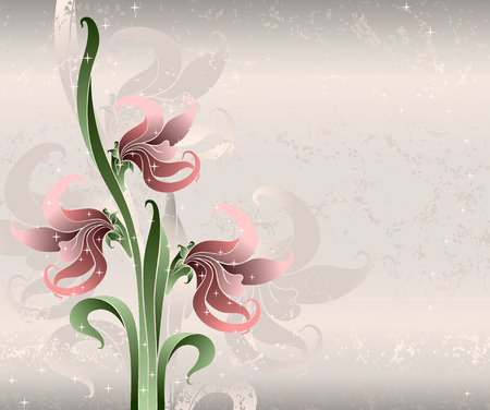 pink lilies on silk   Vector