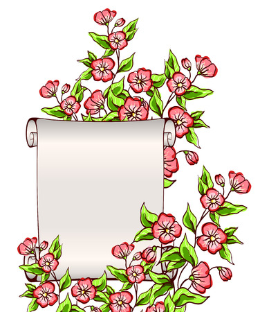 manuscript with flowers   Vector