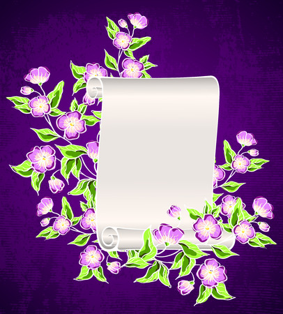 manuscript with night flowers   Vector