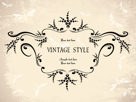 floral vintage frame with butterflies   Vector