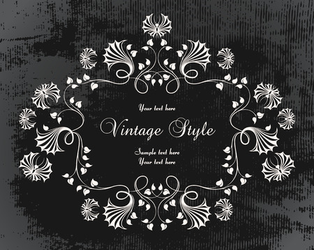 vintage frame with flowers and butterflies   Vector