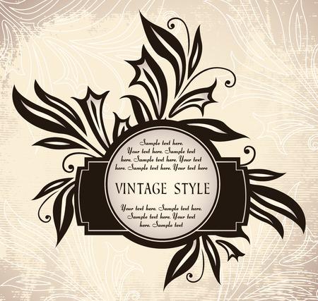 vintage frame with lilies Illustration