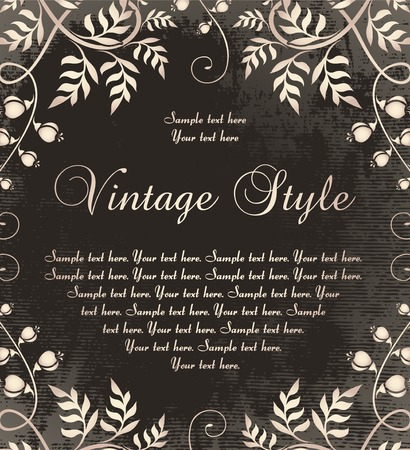 vintage frame on dark backdrop Vector
