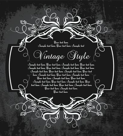 dark vintage frame with irises     Illustration