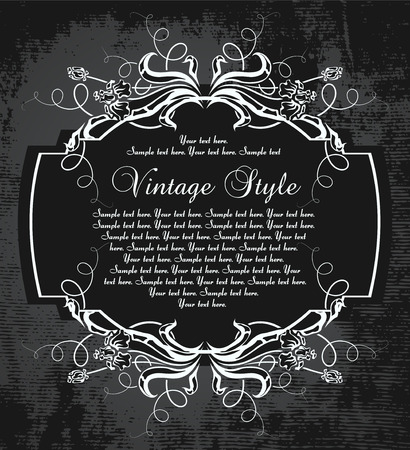 dark vintage frame with irises     Illustration