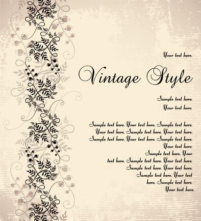 vintage floral background   Çizim