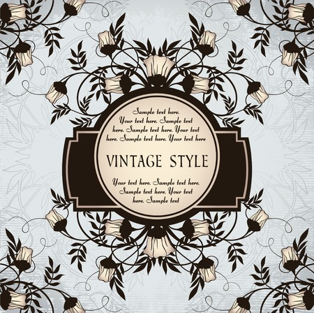 vintage frame with roses   Vector
