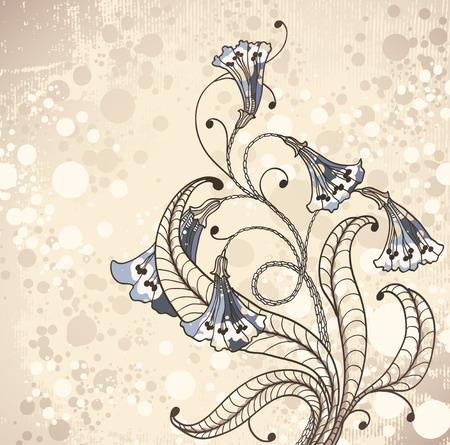 vintage background with flowers   Çizim