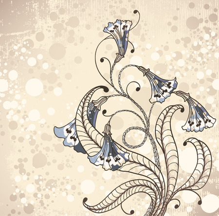 vintage background with flowers   Illustration