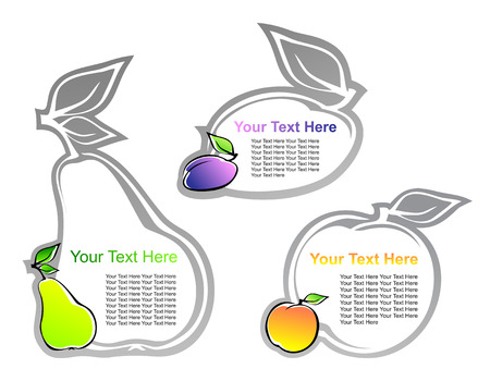 set of labels with fruits   Illustration