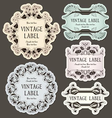 set of vintage labels   Çizim