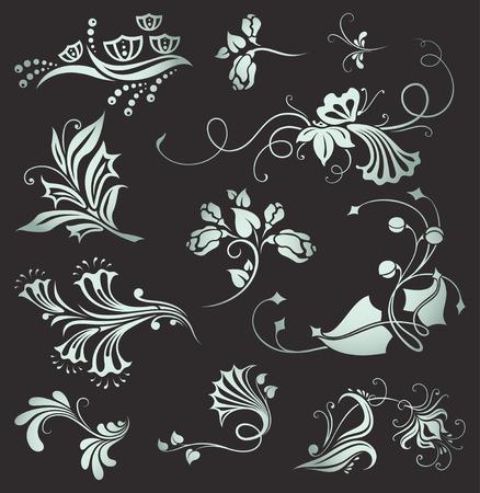 set of vintage floral elements   Stock Vector - 7976206