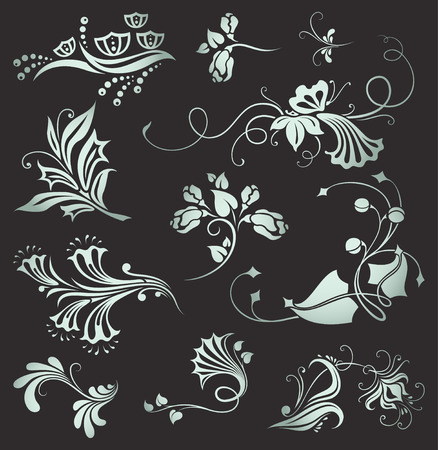 set of vintage floral elements Stock Vector - 7976206