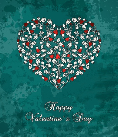 valentine`s card with heart of roses