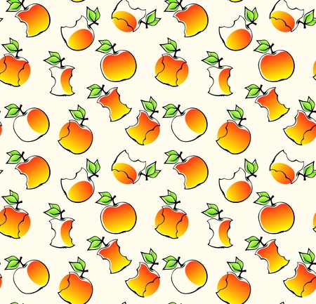 eaten: seamless pattern with apples