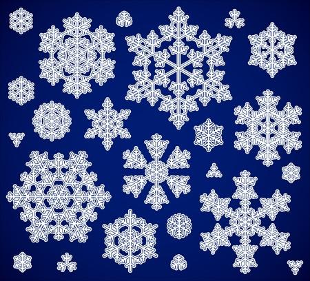 conjunto de los copos de nieve Ilustración de vector