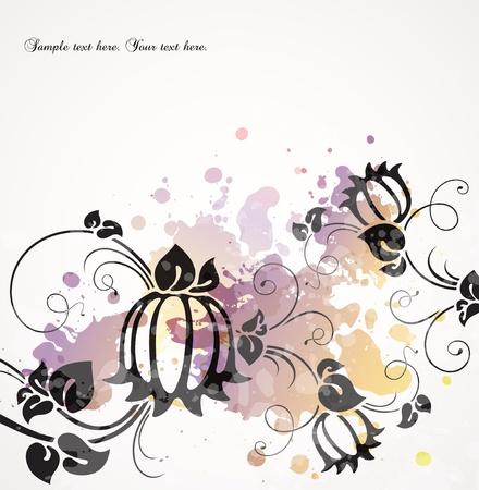 transpiration: romantic background with flowers   Illustration