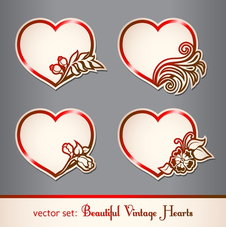 february valentine: set of vintage hearts