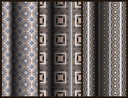 set of seamless geometric pattern