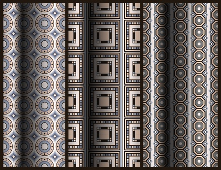 window curtains: set of seamless geometric pattern