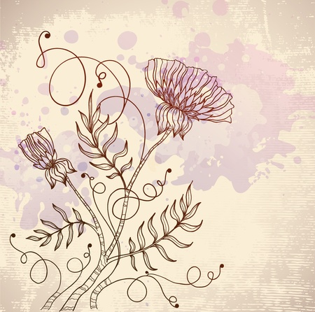 beautiful retro flower Vector