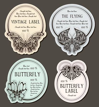 set of labels with butterflies