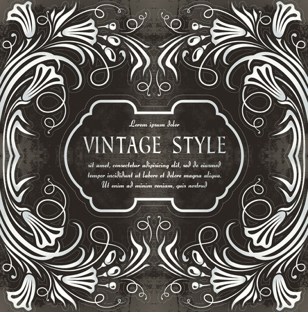 floral vintage label   Vector