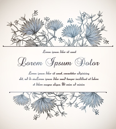 vintage floral invitation   Vector