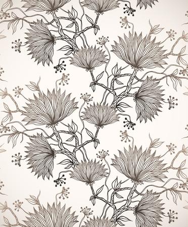 patrón transparente con los crisantemos
