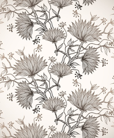 hand drawn flower: seamless pattern with chrysanthemums