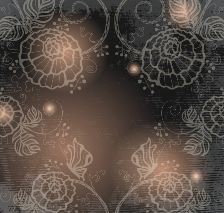 dark flowers and glowworms   Vector