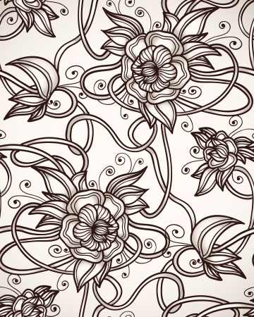 art deco background: seamless pattern with abstract lilies