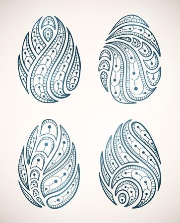 set of ornamental Easter eggs