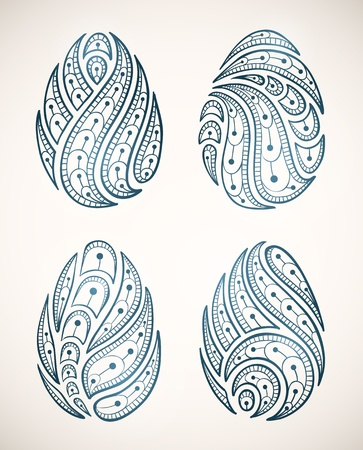 set of ornamental Easter eggs   Vector