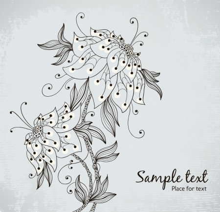 vintage beautiful flowers   Vector