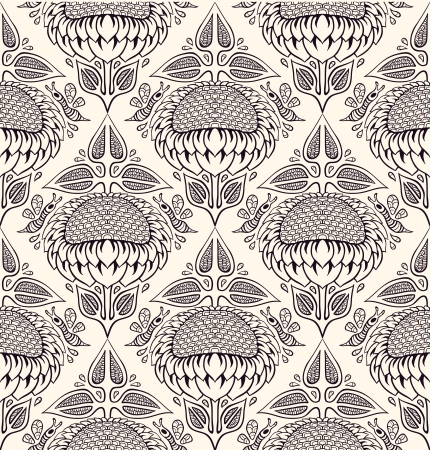 seamless pattern with sunflowers and honeybees   Vector