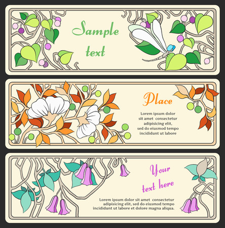 set of banners in the Art Nouveau style  series    Vector
