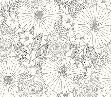 freehand: beautiful seamless pattern with flowers
