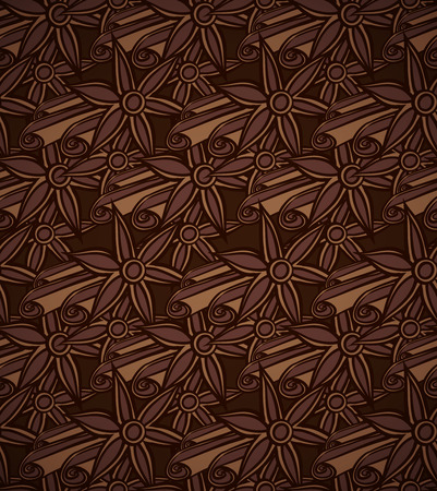 anise: seamless pattern with anise and cinnamon Illustration